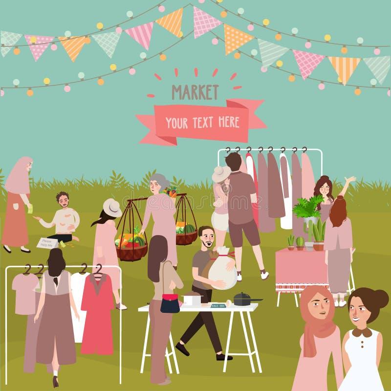 Rynek pełno ludzie plenerowego tłumu zakupy sprzedawania materiału jak odzieżowa owoc i inny materiał ilustracji