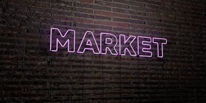 RYNEK - Realistyczny Neonowy znak na ściana z cegieł tle - 3D odpłacający się królewskość bezpłatny akcyjny wizerunek royalty ilustracja