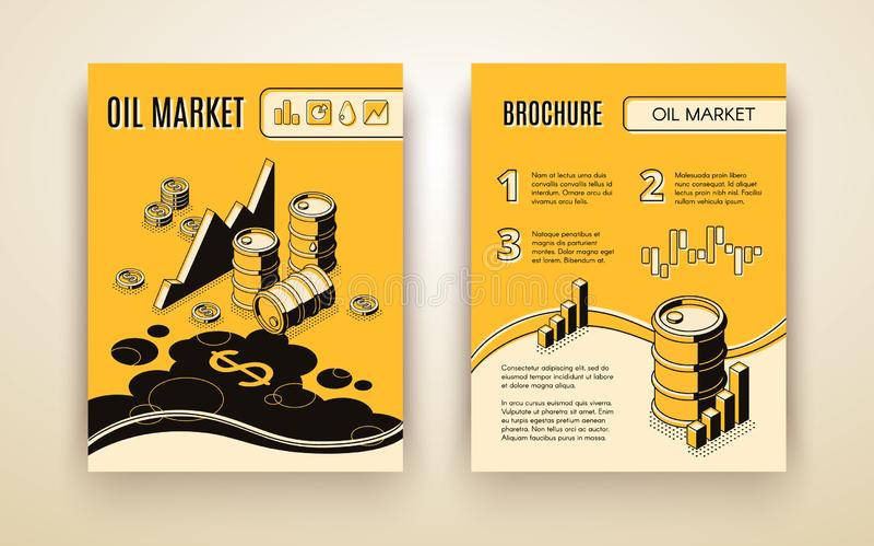 Rynek ropy broszurki isometric wektorowy szablon ilustracja wektor