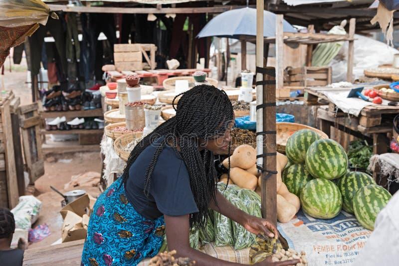 Rynek sprzedawczyni w Livingstone i kramy, zambiowie fotografia royalty free