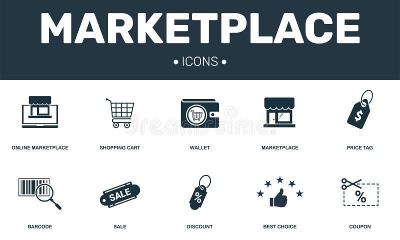 Rynek ustalone ikony inkasowe Zawiera prostych elementy tak jak portfla, metki, talonu, rabata i sprzeda?y premia, ilustracja wektor
