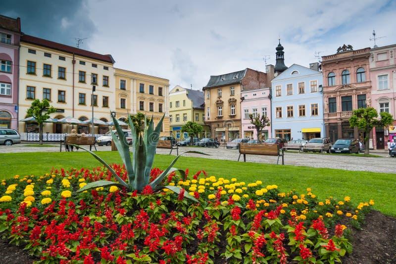 Rynek w centrum Czeski miasto Broumov zdjęcia stock