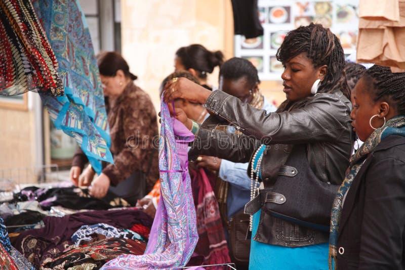 Rynek w Quartier Belleville Paryż fotografia stock