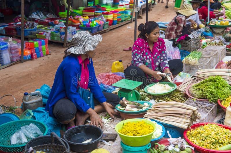 Rynek w Siem Przeprowadza żniwa Kambodża obrazy stock
