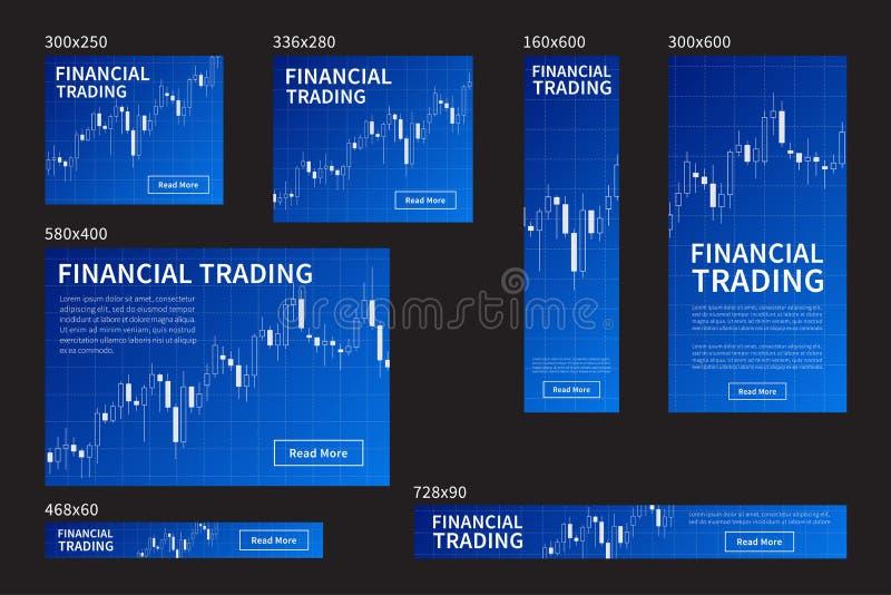 Rynek walutowy akcyjnej strony internetowej wektorowi błękitni sztandary ustawiający ilustracji