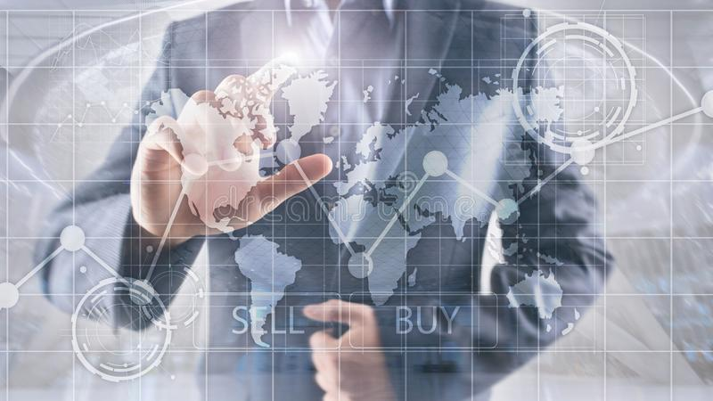 Rynek walutowy mapy Handlarscy Inwestorscy Pieni??ni wykresy Biznesu i technologii poj?cie obraz stock