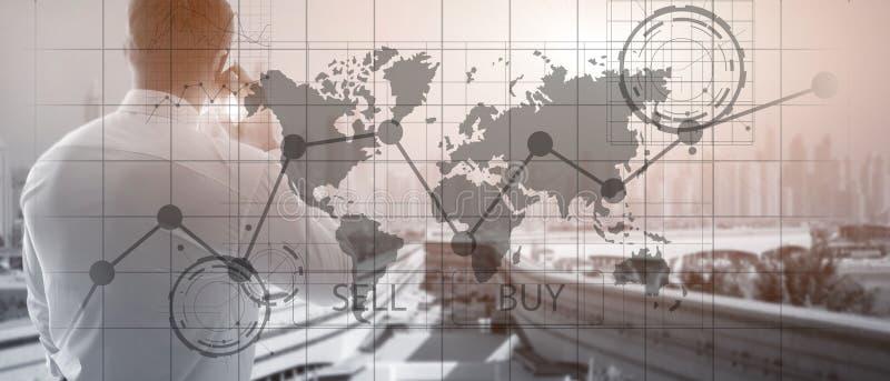 Rynek walutowy mapy Handlarscy Inwestorscy Pieni??ni wykresy Biznesu i technologii poj?cie Biznesowy sztandar fotografia stock
