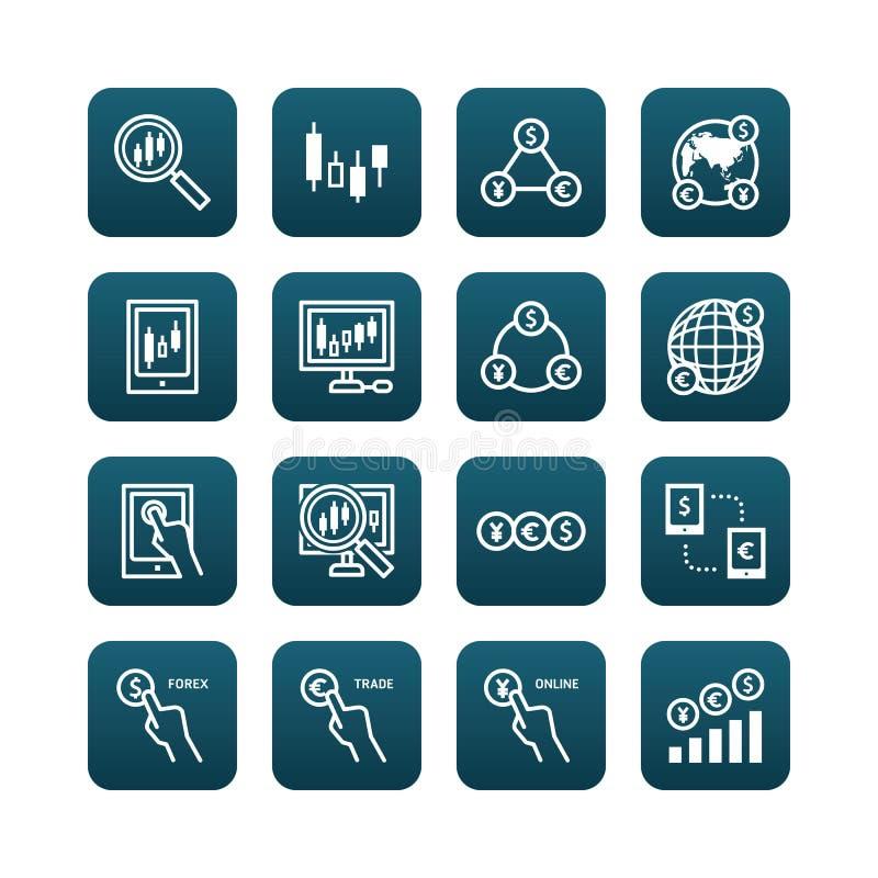 Rynek walutowy wektorowe płaskie ikony ustawiać biznesu finanse online handel royalty ilustracja