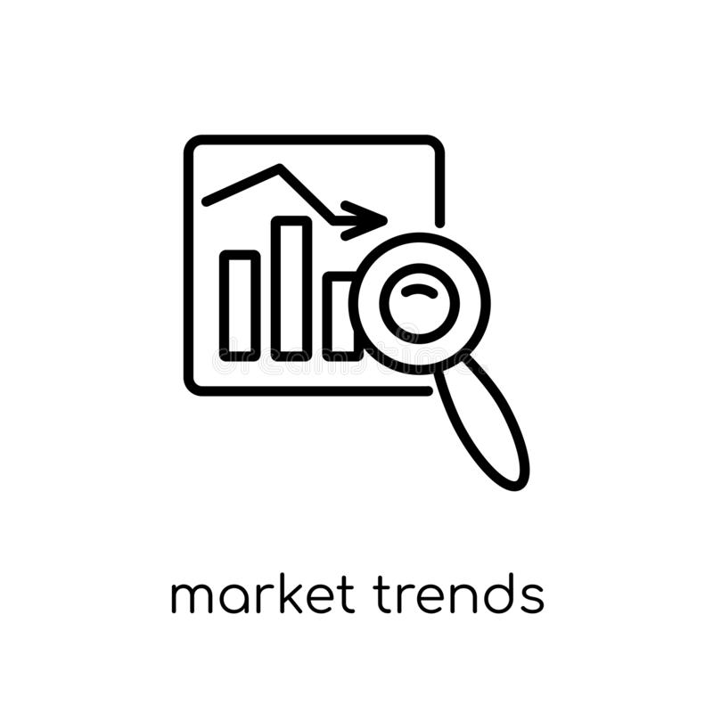 Rynek wykazuje tendencję ikonę Modny nowożytny płaski liniowy wektoru rynek tren royalty ilustracja