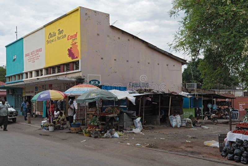 Rynków kramy i sprzedawcy w Livingstone, zambiowie obrazy royalty free