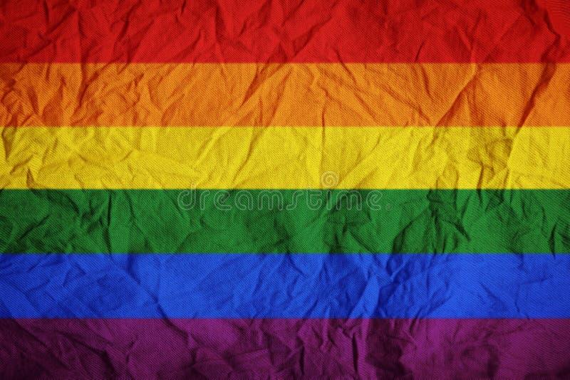 Rynkar den vinkande flaggan för LGBT tygtextur för bakgrund royaltyfria foton