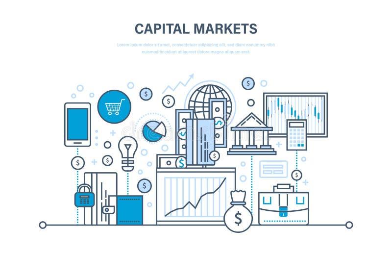 Rynki kapitałowi, handel, online bankowość, handel elektroniczny, inwestorski przyrost, marketing, finanse ilustracji