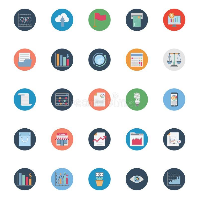 Rynku i ekonomii kolor Odizolowywał Wektorowe ikony Ustawiać które mogą łatwo redagować lub modyfikować ilustracji