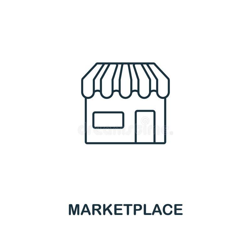 Rynku konturu ikona Cienki kreskowy element od crowdfunding ikon inkasowych UI i UX Piksel doskonalić rynek royalty ilustracja