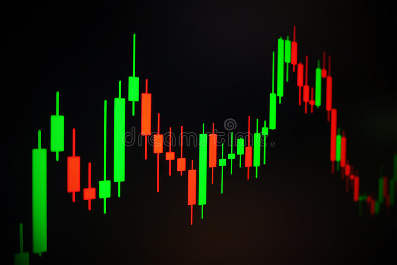 Rynku Papierów Wartościowych zielony i czerwony wykres z czarnym tłem, rynek walutowy wprowadzać na rynek, handlujący zdjęcie stock