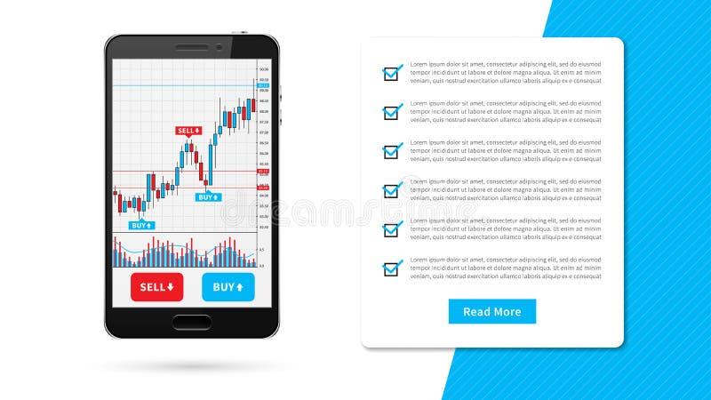 Rynku walutowego candlestick handlowy wykres na smartphone ilustracja wektor