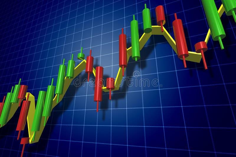 Rynku walutowego candlestick mapa nad zmrokiem - błękit royalty ilustracja