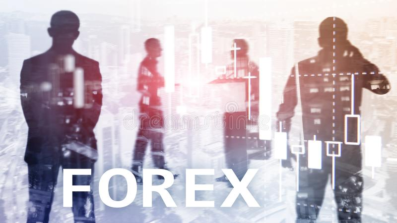 Rynku walutowego handel, pieniężna świeczki mapa i wykresy na zamazanym centrum biznesu tle, fotografia royalty free