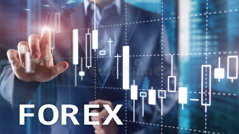 Rynku walutowego handel, pieni??na ?wieczki mapa i wykresy na zamazanym centrum biznesu tle, fotografia stock