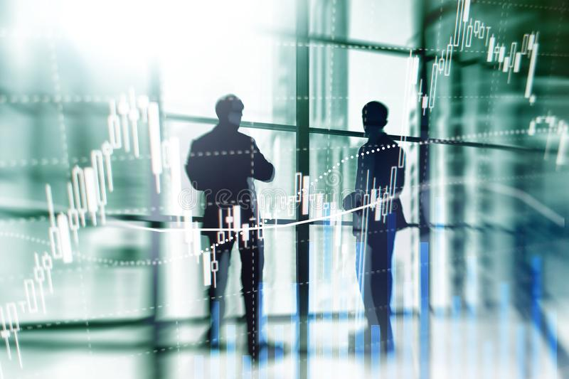 Rynku walutowego handel, rynek finansowy, Inwestorski pojęcie na centrum biznesu tle fotografia royalty free