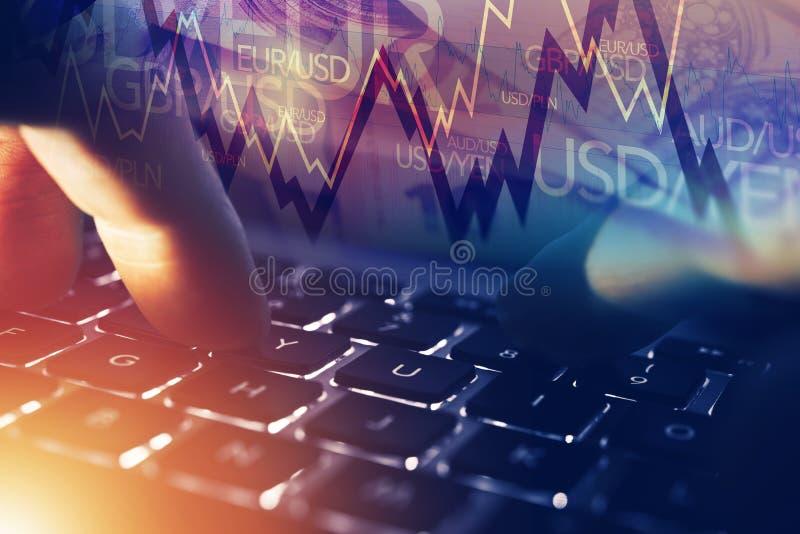 Rynku walutowego Online gracz zdjęcia stock