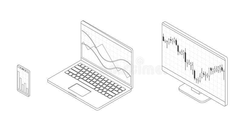 Rynku walutowego zapasu mapa Isometry komputer z akcyjną dane mapą royalty ilustracja