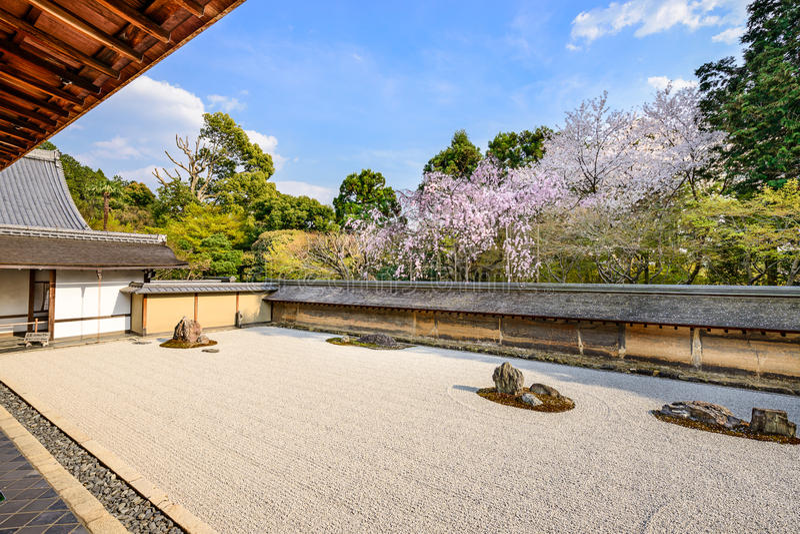 Ryoanji禅宗庭院在东京 免版税库存图片