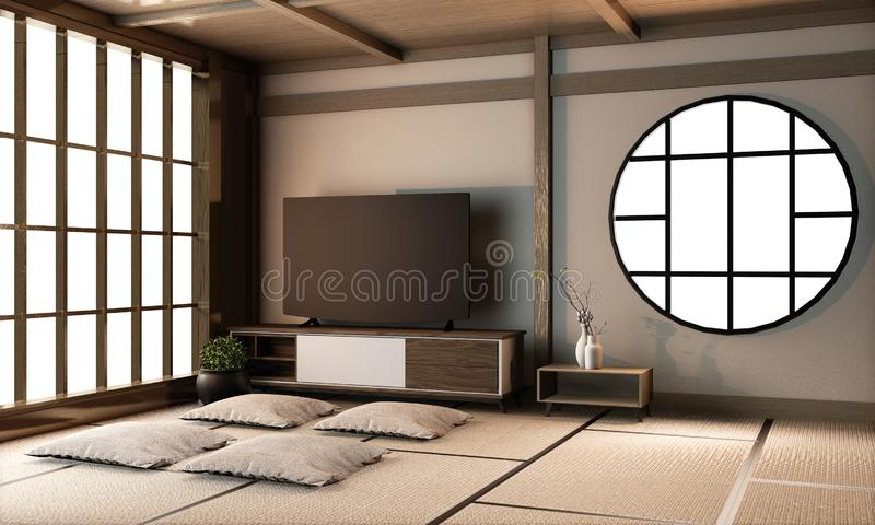 Interior Ryokan living room interior design on tatami mat floor.3D rendering royalty free stock photography