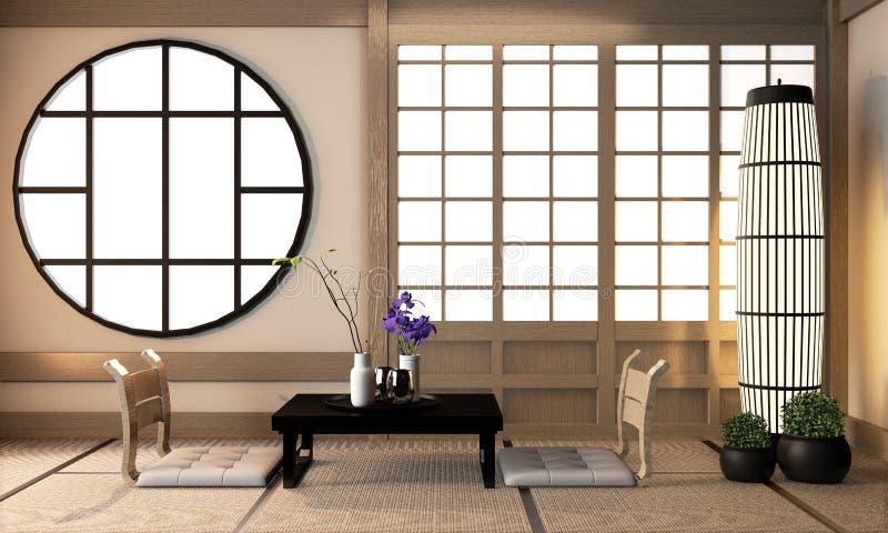 Interior Ryokan living room interior design on tatami mat floor.3D rendering stock images