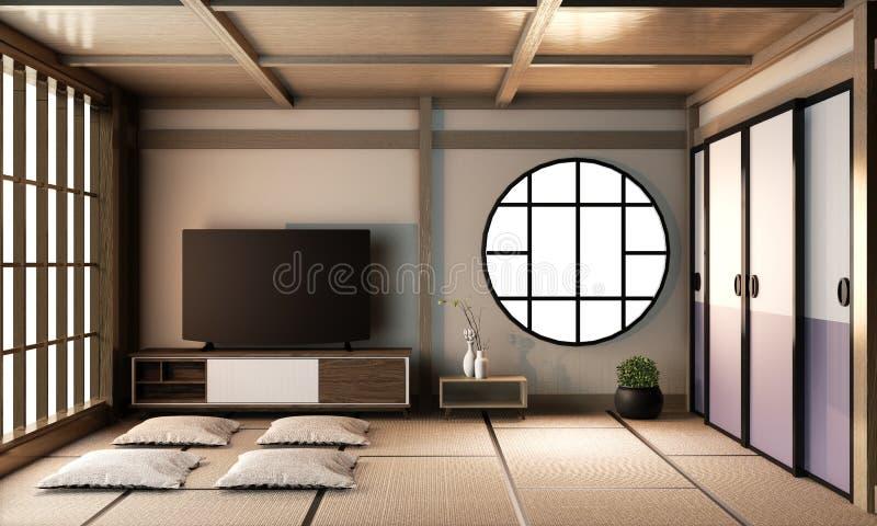 Interior Ryokan living room interior design on tatami mat floor.3D rendering royalty free stock photos