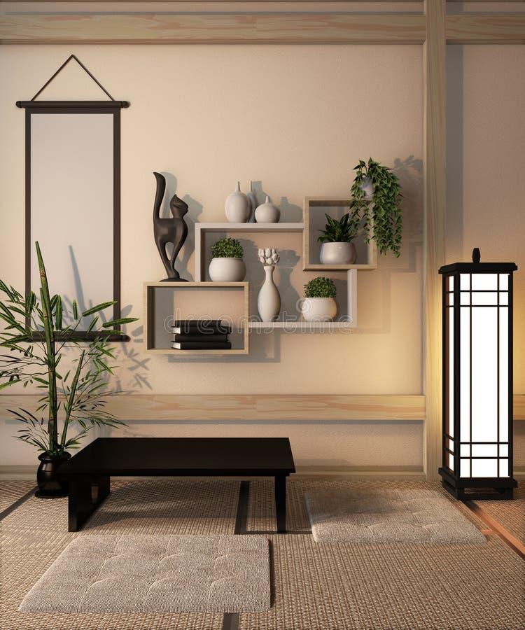 Interior Ryokan room design very japanese style.3D rendering stock photography