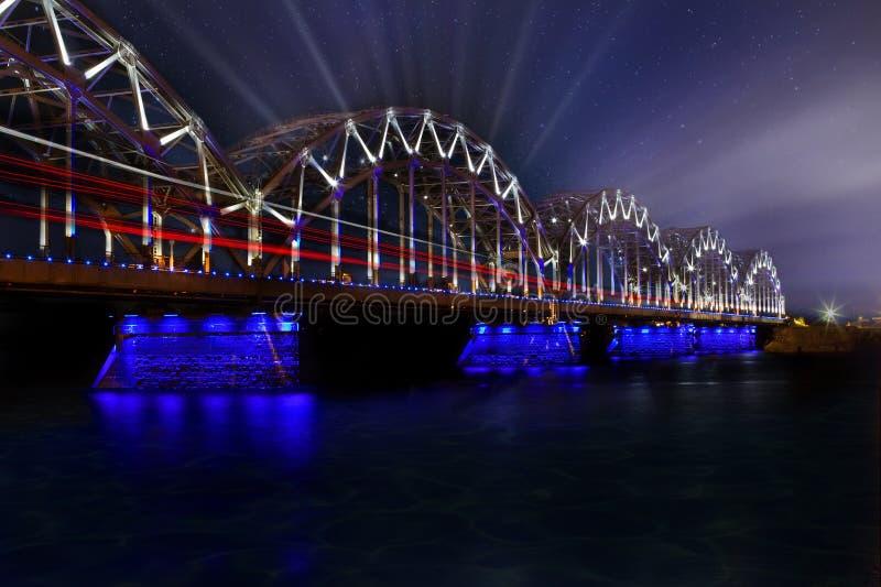 Ryscy Latvia pociągu mosta promienie fotografia royalty free