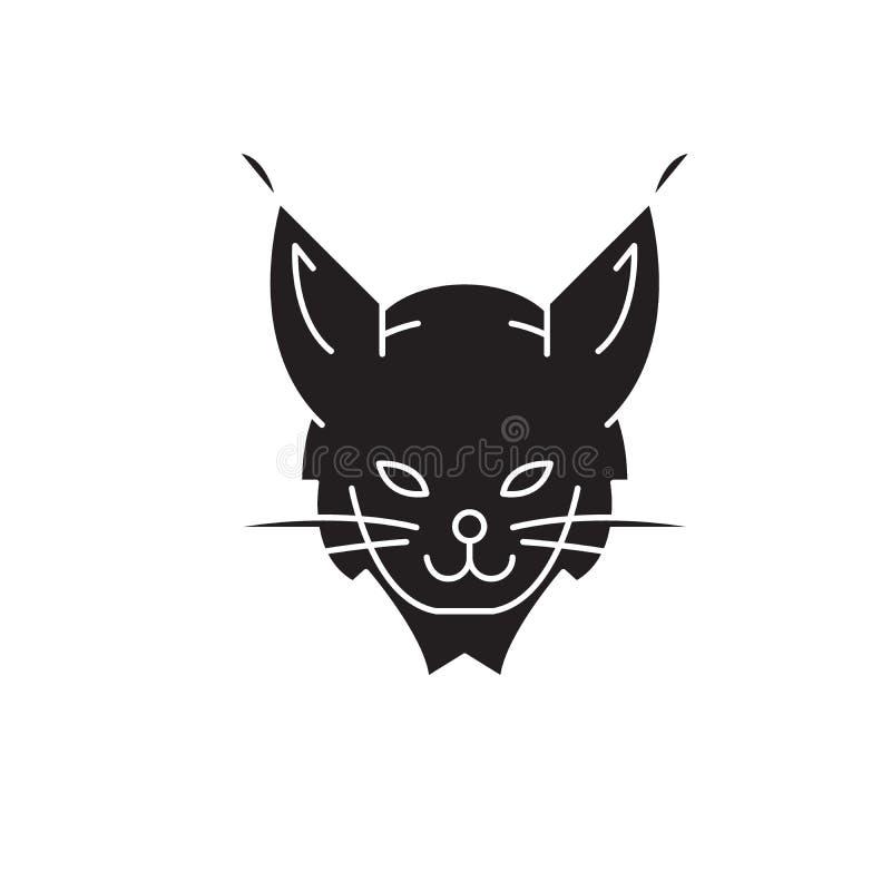 Rysia pojęcia kierownicza czarna wektorowa ikona Ryś kierownicza płaska ilustracja, znak royalty ilustracja