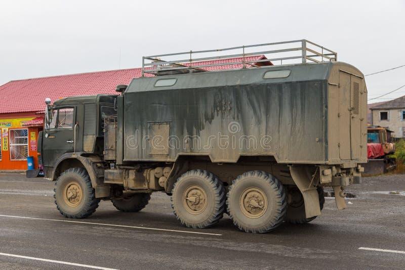 Rysk av-väg extrem expeditionlastbil, Sokoch, Ryssland fotografering för bildbyråer