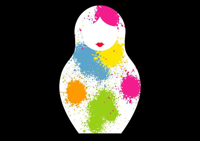 Rysk bygga bodockamatrioshka, färgrikt symbol för symbol av Ryssland Splatter färgade stil Vektor som isoleras på svart bakgrund stock illustrationer