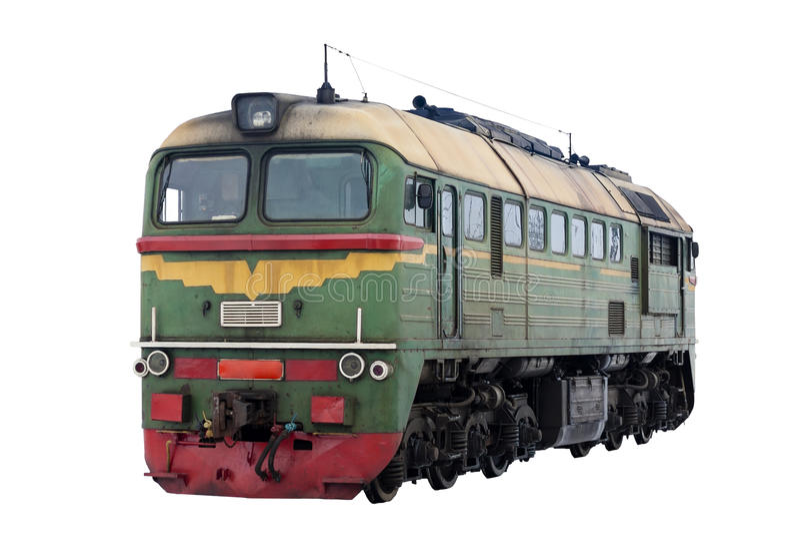 Rysk diesel- lokomotiv M62 på vit bakgrund arkivbild