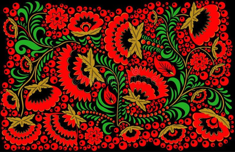 Rysk etnisk hohlomastilbakgrund stock illustrationer