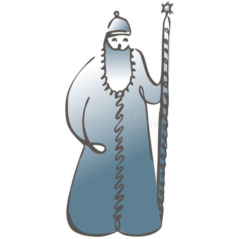 Rysk fader Frost missbel?ten illustration f?r pojketecknad film little vektor Hälsningkortet 2019 för det lyckliga nya året med s vektor illustrationer