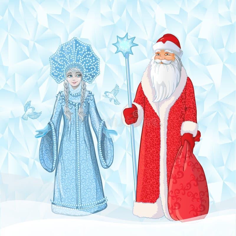 Rysk fader Frost också som är bekant som `-Ded Moroz ` och hans sondotter`-Sneguroschka `, Vektortecknad filmillustration på is stock illustrationer