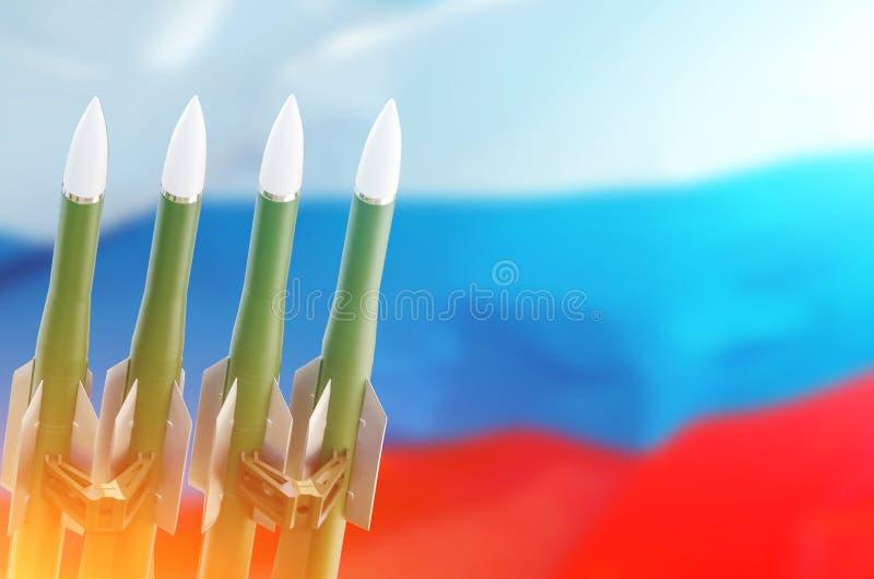Rysk federation för raketbakgrund av den Ryssland flaggan Fördrag på elimineringen av Mellanliggande-område och Kort-område royaltyfri illustrationer