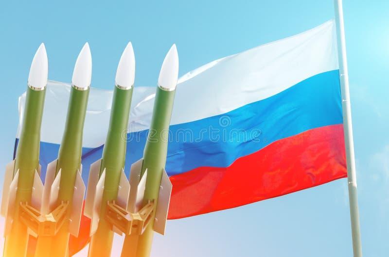 Rysk federation för raketbakgrund av den Ryssland flaggan Fördrag på elimineringen av Mellanliggande-område och Kort-område vektor illustrationer