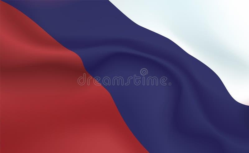 Rysk flagga för bakgrund i veck Tricolour baner Standert med slut för bandbegrepp upp, standarda Rus Rysk federation stock illustrationer