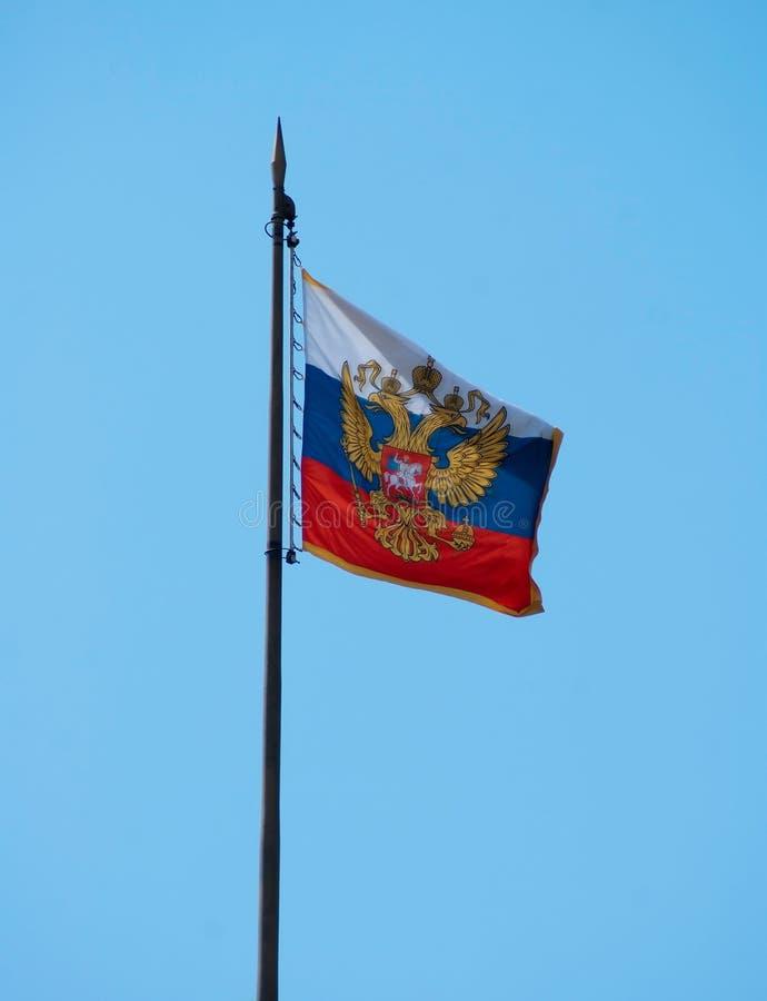 Rysk flagga för vapensköld fotografering för bildbyråer