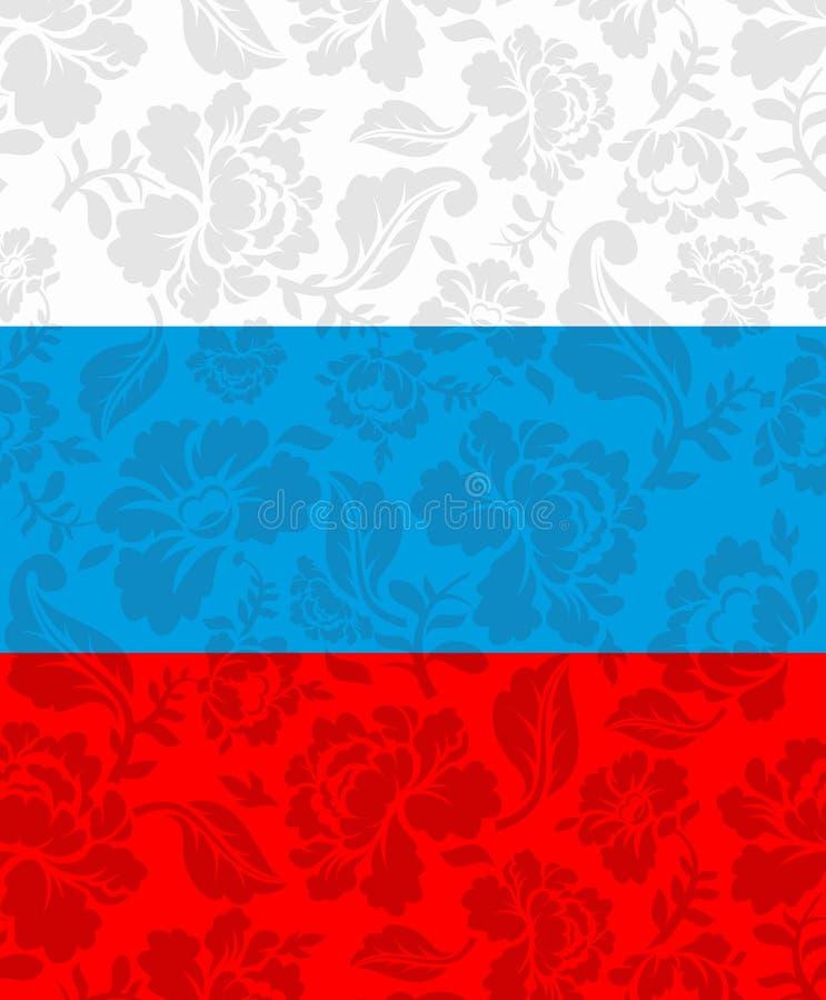 Rysk flagga målade Khokhloma Statligt tecken för medborgare vektor illustrationer