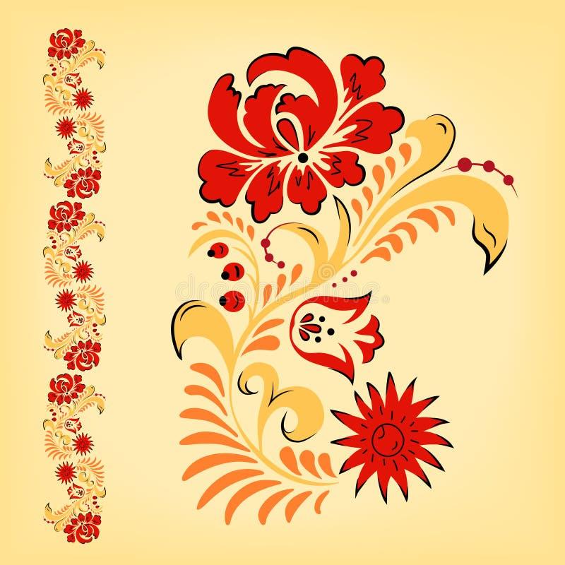 Rysk Folk blom- traditionell prydnad vektor illustrationer