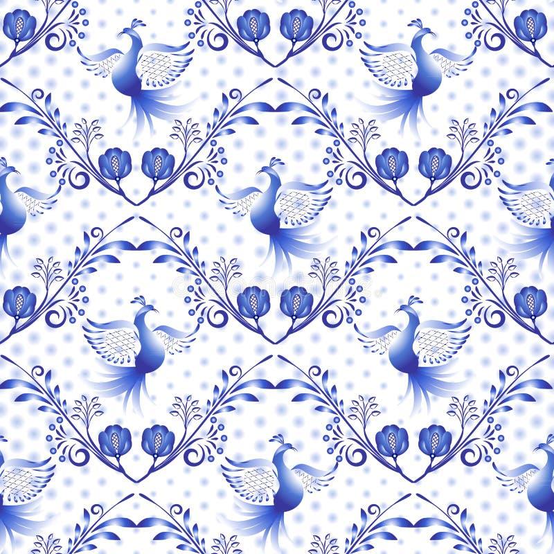 Rysk gzhelmodell Nationell blom- bakgrund, sömlös marinblå prydnad med fåglar och prickar i stilen av den traditionella poren stock illustrationer