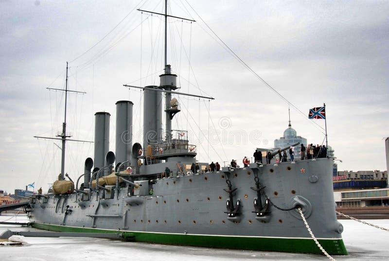 Rysk historisk krigsskepp arkivbild