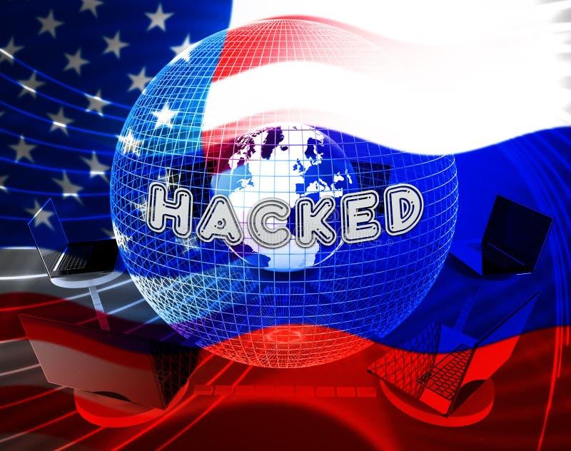 Rysk illustration för varning 3d för dataintrångvalattack stock illustrationer