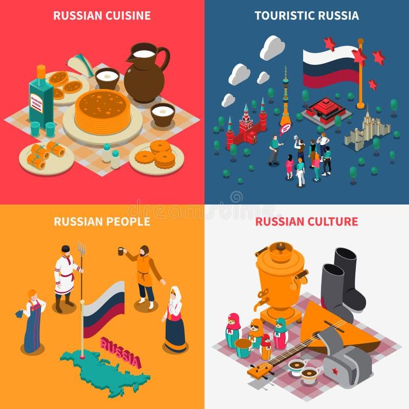 Rysk isometrisk Touristic uppsättning för symboler 2x2 vektor illustrationer