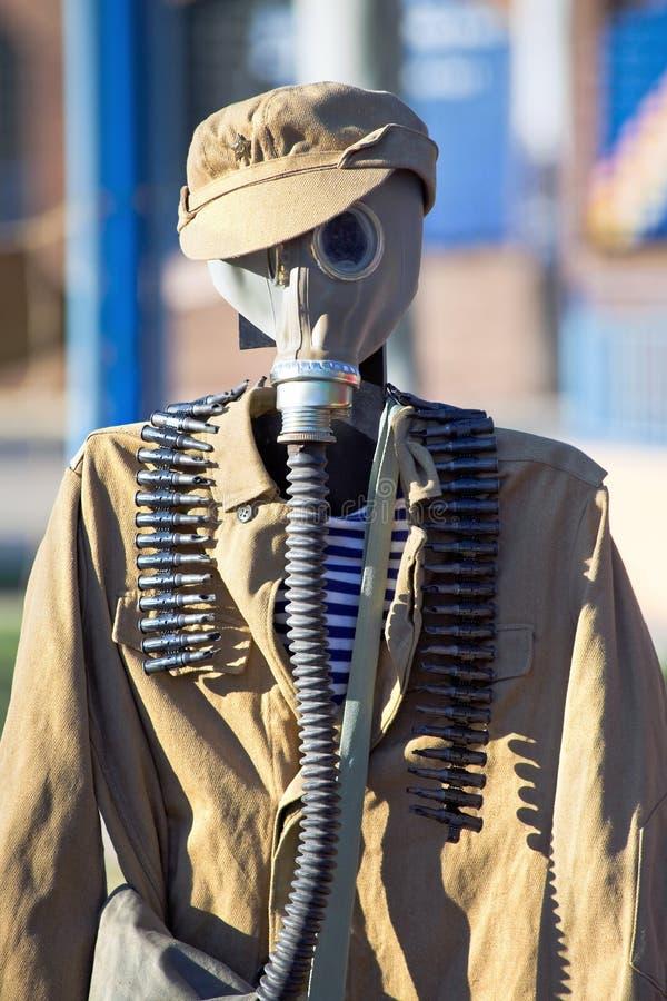 Rysk likformig av försvar för kemiska attacker i wwii royaltyfri foto